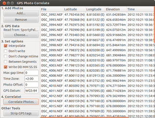 Screenshots of package gpscorrelate