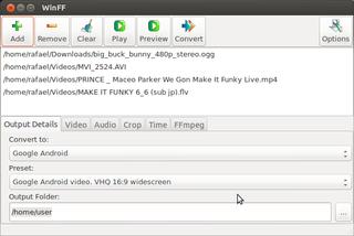 Screenshots of package winff