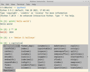 Screenshots of package ipython3