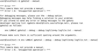 Screenshots of package gphoto2