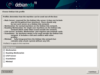 Screenshots of package debian-edu-install